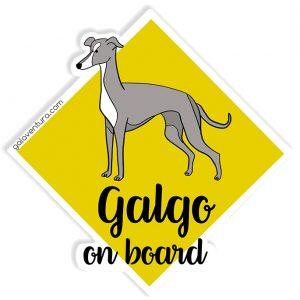 Pegatina Galgo on board o Galgo a bordo