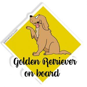 Pegatina Golden Retriever on board o Golden Retriever a bordo
