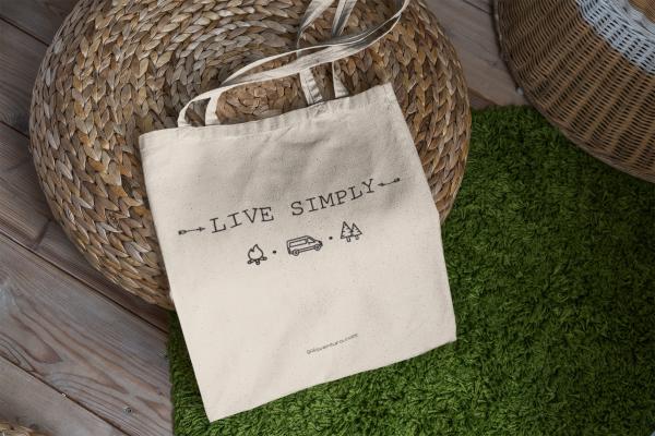 Bolsa de tela, totebag, live simply diseñada por Galaventura