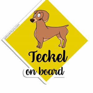 Pegatina Teckel on board o Teckel a bordo