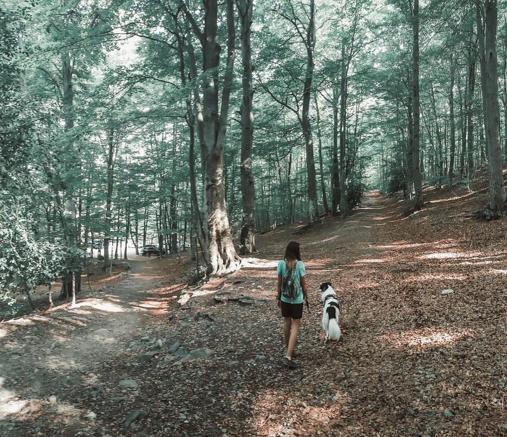 La chica que aparece en la foto indica el camino que has de seguir justo al empezar la ruta.