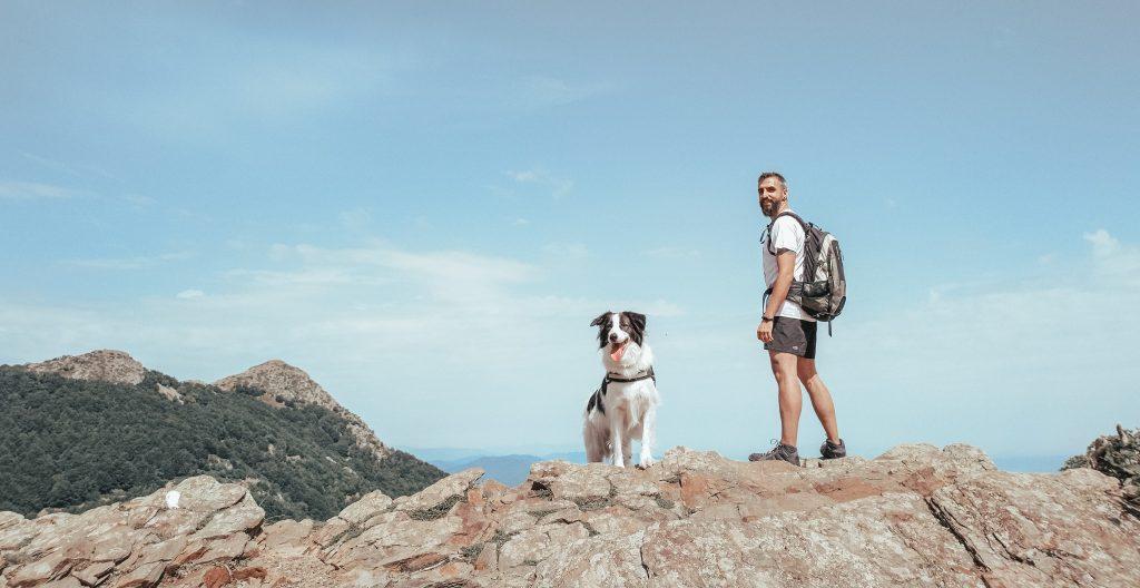 Chico y perro encima de una pared rocosa mostrando las vistas