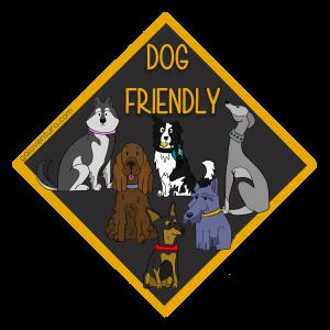Pegatina dog friendly, mascotas bienvenidas